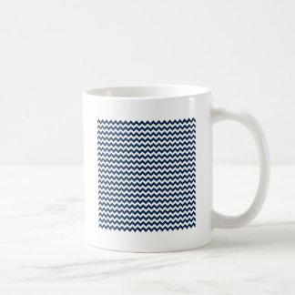 Zigzag Wide  - White and Oxford Blue Mug