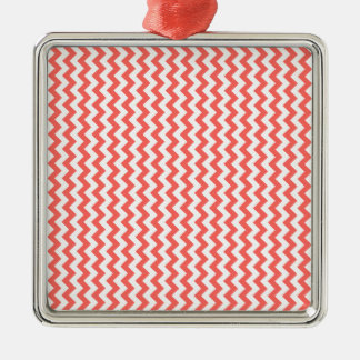 Zigzag Wide  - White and Pastel Red Silver-Colored Square Decoration