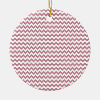 Zigzag Wide  - White and Puce Round Ceramic Decoration
