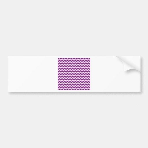 Zigzag Wide  - White and Purple Bumper Stickers