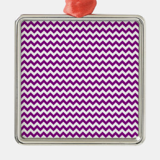 Zigzag Wide  - White and Purple Christmas Ornaments