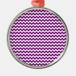 Zigzag Wide  - White and Purple Silver-Colored Round Decoration