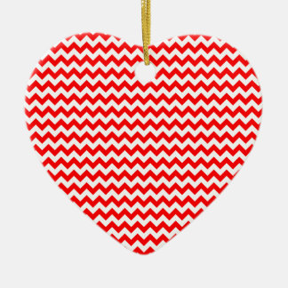 Zigzag Wide  - White and Red Ceramic Heart Decoration