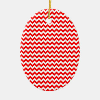 Zigzag Wide  - White and Red Ceramic Oval Decoration