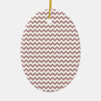 Zigzag Wide  - White and Rosy Brown Ceramic Oval Decoration