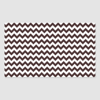 Zigzag Wide - White and Seal Brown Rectangular Sticker