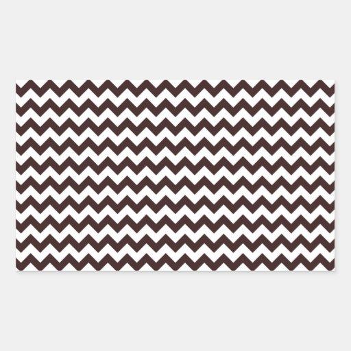 Zigzag Wide  - White and Seal Brown Rectangular Sticker