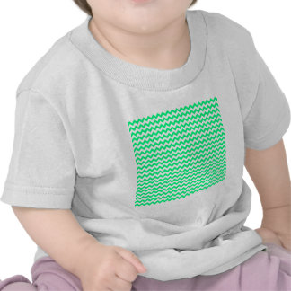 Zigzag Wide  - White and Spring Green Tee Shirts