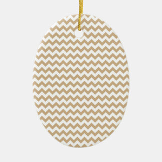 Zigzag Wide  - White and Tan Ceramic Oval Decoration