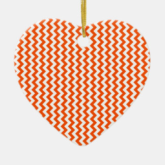Zigzag Wide - White and Tangelo Ornament
