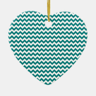 Zigzag Wide  - White and Teal Ceramic Heart Decoration