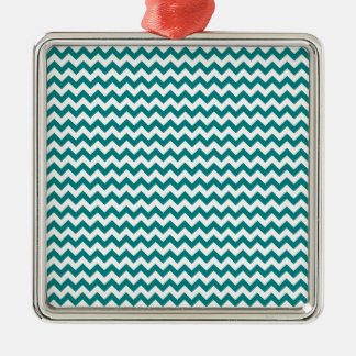 Zigzag Wide  - White and Teal Christmas Tree Ornament