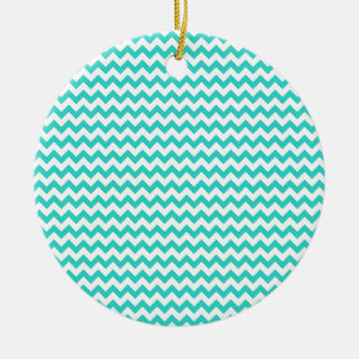 Zigzag Wide  - White and Turquoise Ornaments