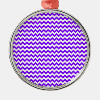Zigzag Wide  - White and Violet Silver-Colored Round Decoration