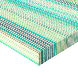 Zigzags And Stripes Of Blue And Green Shades Stretched Canvas Prints
