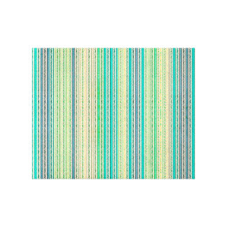 Zigzags And Stripes Of Blue And Green Shades Canvas Print