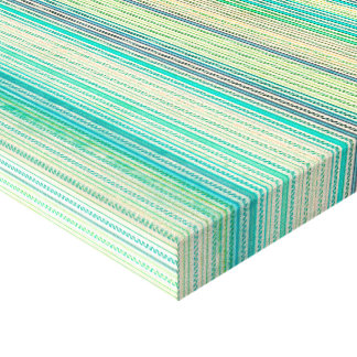 Zigzags And Stripes Of Blue And Green Shades Gallery Wrapped Canvas