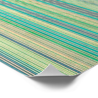 Zigzags And Stripes Of Blue And Green Shades Poster