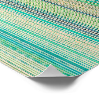 Zigzags And Stripes Of Blue And Green Shades Posters