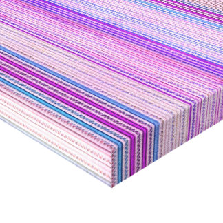 Zigzags And Stripes Purple And Blue Shades Stretched Canvas Print