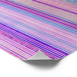 Zigzags And Stripes Purple And Blue Shades Poster
