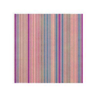 Zigzags And Stripes Purple And Blue Shades Wood Prints