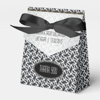 Zigzagy Black White Batik Party Favor Boxes