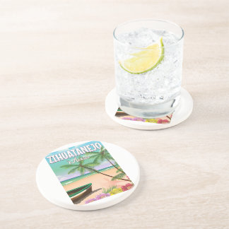 Zihuatanejo Mexican beach vacation poster Coaster