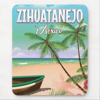 Zihuatanejo Mexican beach vacation poster Mouse Mat