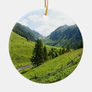 Zillertal alps round ceramic decoration