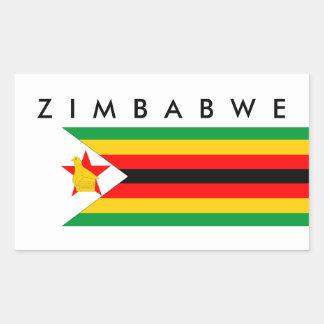 zimbabwe country flag nation symbol text name rectangular sticker