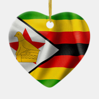 Zimbabwe Flag Ceramic Heart Decoration