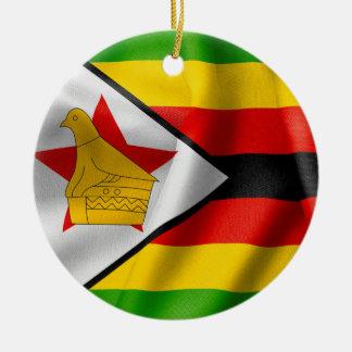 Zimbabwe Flag Ceramic Round Christmas Ornament