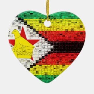 Zimbabwe Flag glitter ornament