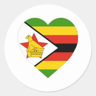Zimbabwe Flag Heart Classic Round Sticker