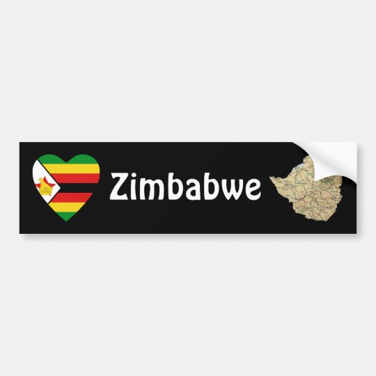 Zimbabwe Flag Heart + Map Bumper Sticker