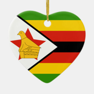 Zimbabwe Flag Heart Ornament