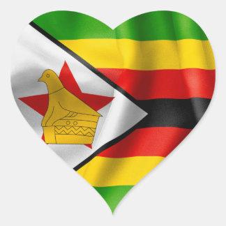 Zimbabwe Flag Heart Shaped Sticker
