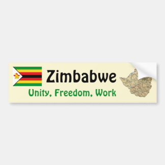 Zimbabwe Flag + Map Bumper Sticker