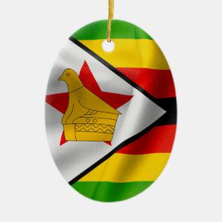 Zimbabwe Flag Oval Ceramic Christmas Ornament
