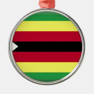 Zimbabwe Flag Silver-Colored Round Decoration