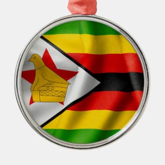 Zimbabwe Flag Silver-Colored Round Decoration