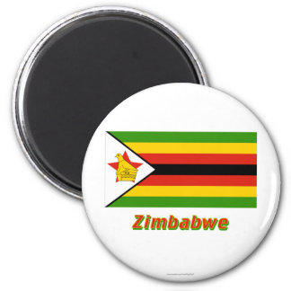 Zimbabwe Flag with Name 6 Cm Round Magnet