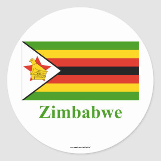 Zimbabwe Flag with Name Classic Round Sticker