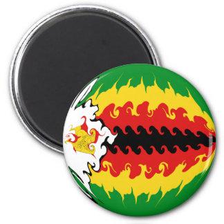 Zimbabwe Gnarly Flag 6 Cm Round Magnet