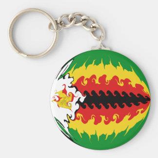 Zimbabwe Gnarly Flag Basic Round Button Key Ring