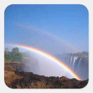 Zimbabwe, Victoria Falls National Park. Double Square Sticker