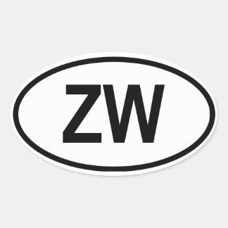 """Zimbabwe """"ZW"""" Oval Sticker"""