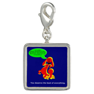 """ZIMKA """"You Deserve"""" Square Charm, Silver Plated"""