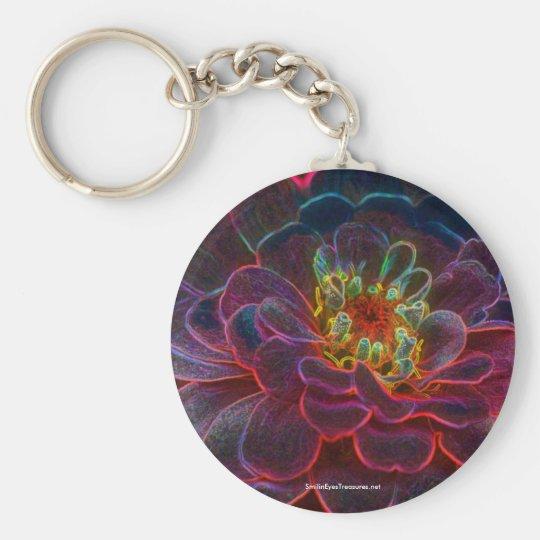 Zinnia Digital Art Flower Photo Keychain